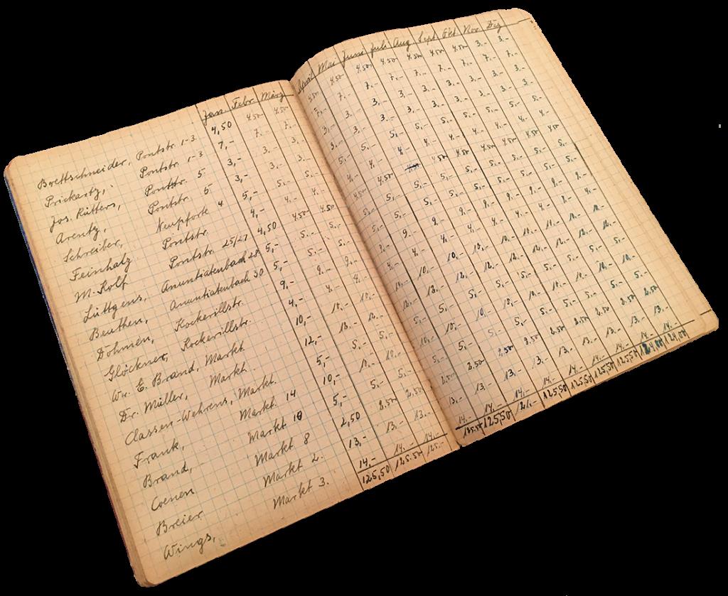 Eine Monats- aufstellung der getätigten Arbeiten aus dem Jahr 1952