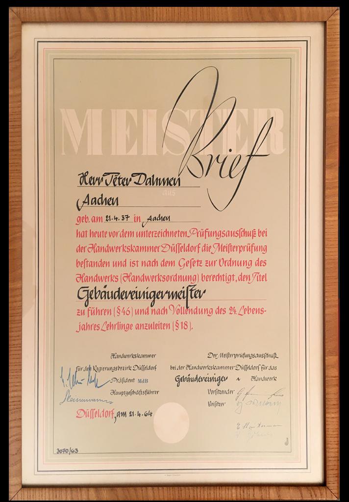 Der Meisterbrief von Peter Dahmen aus dem Jahr 1964