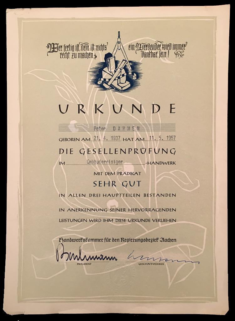 Der Gesellenbrief von Peter Dahmen (1957)
