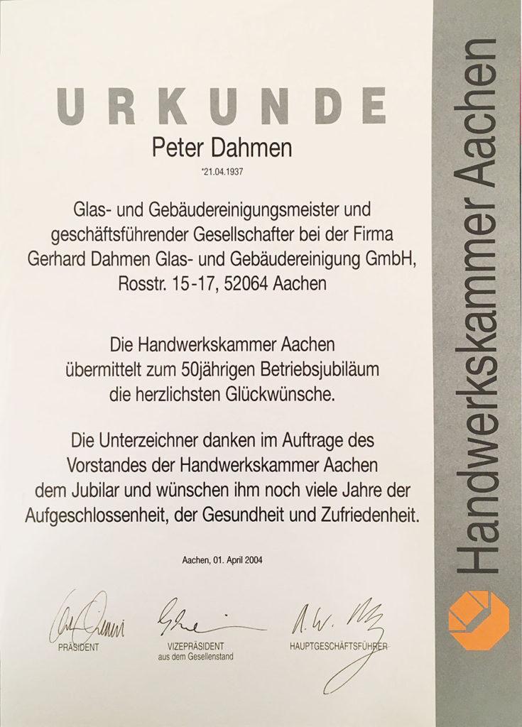 50 Jahre Betriebsjubiläum – Glückwünsche der Handwerkskammer Aachen