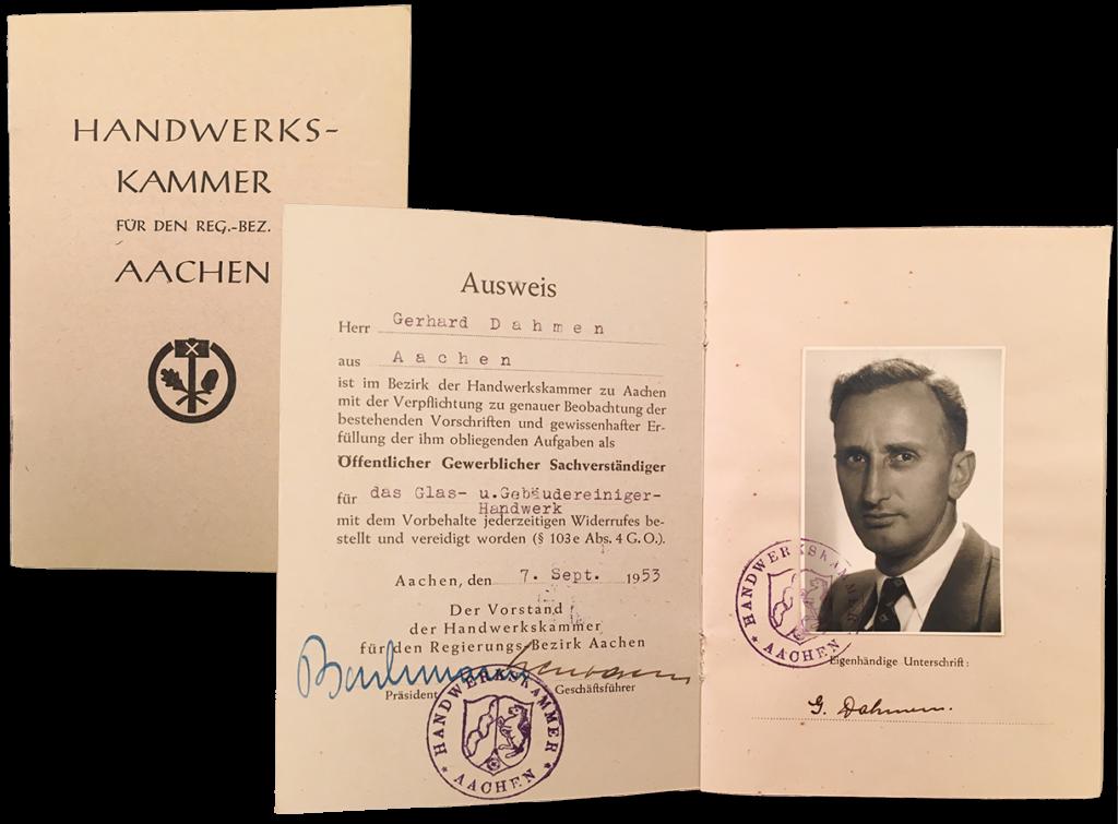 Der Ausweis der Handwerkskammer Aachen für Gerhard Dahmen als Öffentlicher Gewerblicher Sachverständiger (1953)